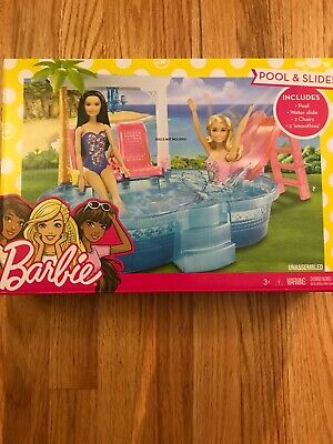 Barbie Glam Pool with Water Slide and Pool Accessories Kid Toy Gift