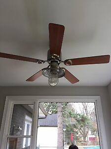 Ceiling fan with remote control and dimmer