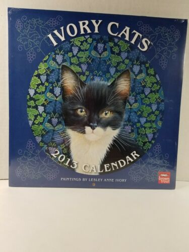 "2013 Lesley Anne Ivory ""Ivory Cats"" Brown Trout Wall Calendar, Brand New/MINT"