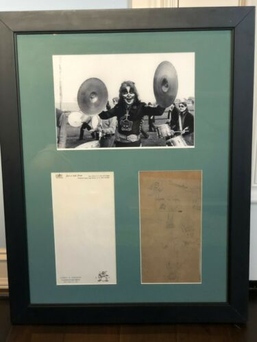 RARE KISS PETER CRISS Personally owned pad and drawing Gene Simmons Paul Stanley