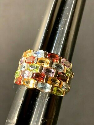 Sterling Silver Gold Finish Multi-Gemstone Cluster RIng Size 8 1/4