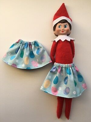 CHRISTMAS ELF SKIRT EASTER EGGS w/ WHITE FLOWERS SPRING DOLL OUTFIT - Christmas Elf Outfit