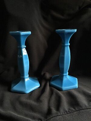 "Cambridge Azurite 7.25"" Pair Candlesticks Elegant Glass Candleholders"