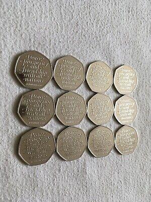 Job Lot 12 X Brexit 50p Coins UK 2020 Twelve Fifty Pence Brexit Coins AUNC