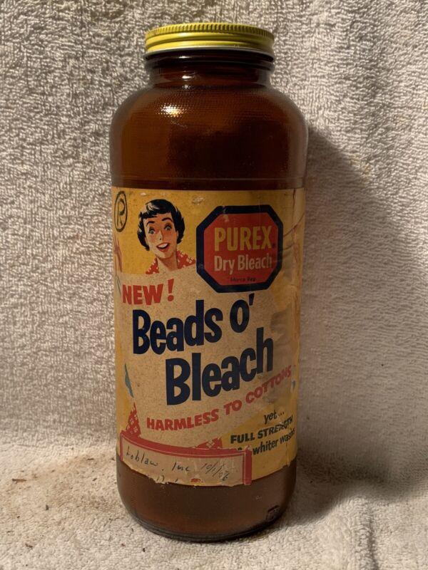 RARE 1950's 1lb 3oz PUREX BEADS O' BLEACH PAPER LABEL BOTTLE WITH CAP