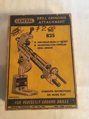 Vintage General Drill Grinding Attachment Tool 825 18 To 34 Adjustable Angle