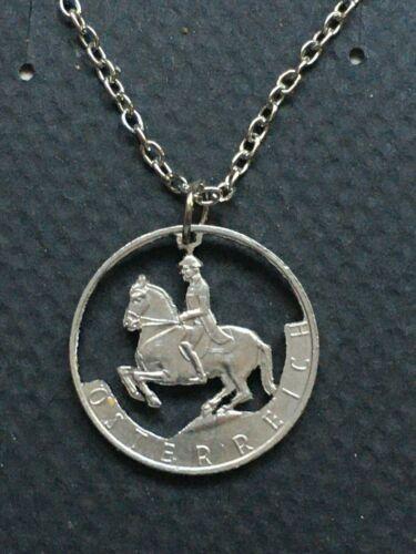 Austria Cut Coin Pendant Equestrian Horse and Rider