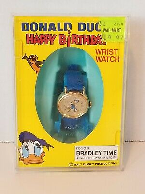 Vintage Donald Duck Happy Birthday Wrist Watch Bradley Time New In Orig Box