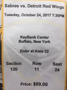 Buffalo vs Detroit Red Wings  Oct 24 @7:30 pm
