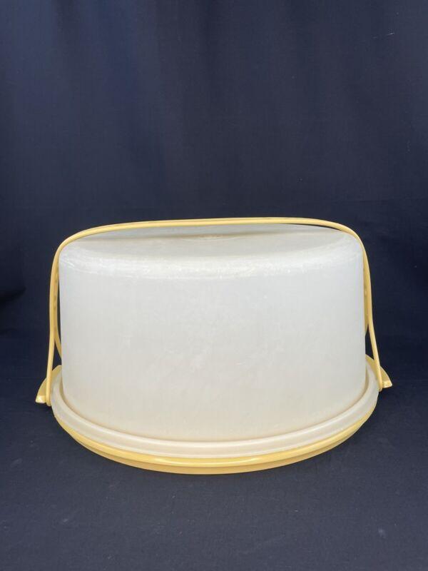 "VTG Harvest Tupperware 12"" Cake Keeper With Lid & Handle Strap 1256 1257 1258"