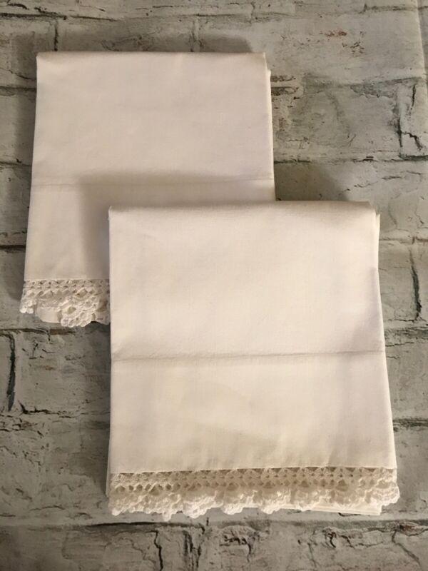 "FAB! Vintage Cream Muslin w Crochet Lace Pair Handmade Pillowcases 33"" x 21"""