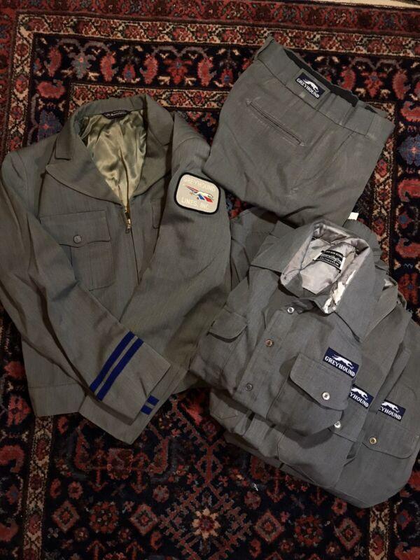 Vintage 1970s GREYHOUND BUS Driver Uniform coat Pants Shirt Lot