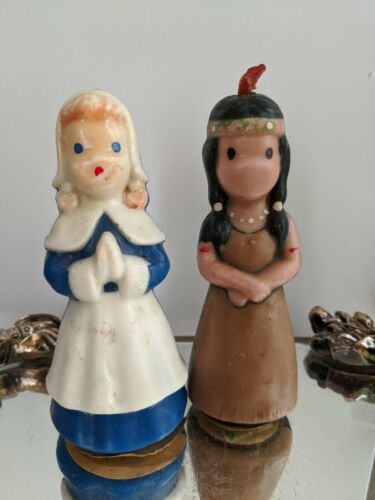 Vintage Thanksgiving Gurley Candles-Pilgrim & Native American Women