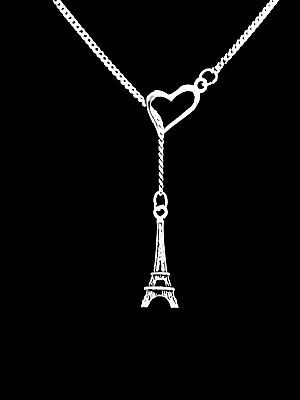 Paris France Tower - Eiffel Tower Necklace Paris France World Travel Mother's Day Gift Y Heart Lariat