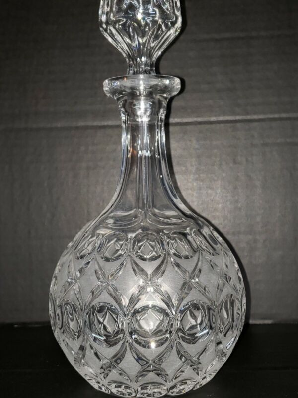 Vintage Etched Glass Decanter w/ Circle, Thumbprint Pattern, Matching Stopper