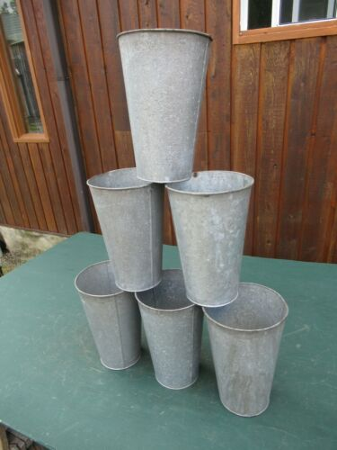 "ANTIQUE 6 Maple Syrup OLD Galvanized Sap TAPERED Buckets 13"" High"
