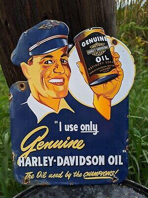 VINTAGE 1950'S OLD HARLEY MOTORCYCLE MOTOR OIL PORCELAIN WOOD DOOR SIGN DIE CUT