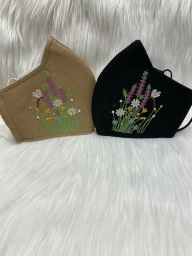 2pcs Flowers Embroidered Linens Face Masks Adult Size