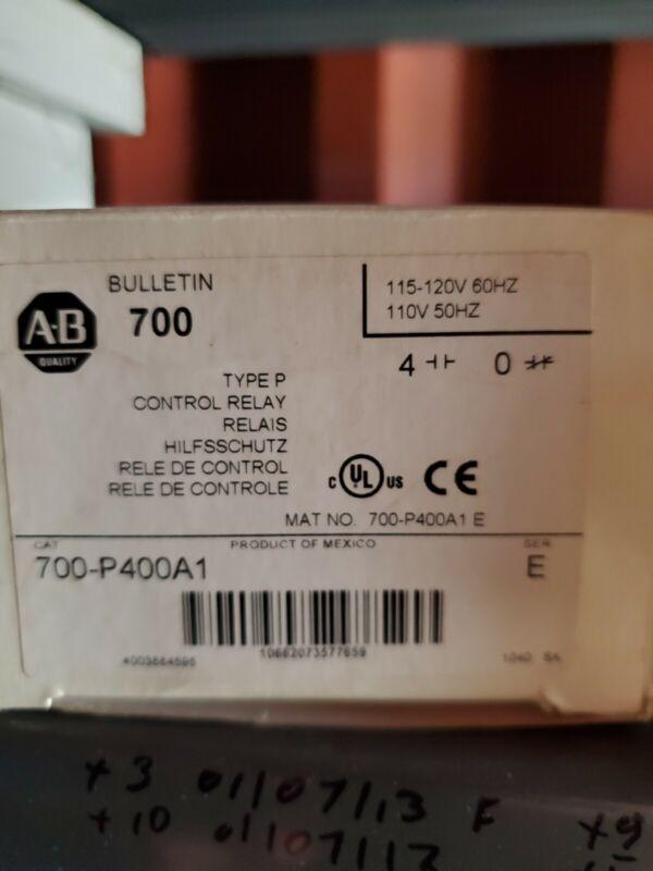 NIB AB ALLEN BRADLEY 700-P400A1 SER E TYPE P CONTROL RELAY 4NO 120V COIL