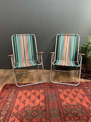 2 x Vintage Retro Striped Folding Garden Deck Chairs   Fishing Beach Camping