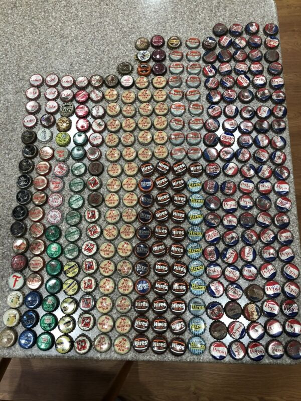 1940s-60s Soda and Beer Bottle Cap 300 Bottle Caps Hires Pepsi 7up Crush & More