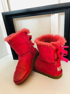 UGG Australia Bailey Bow Hot Pink Sheepskin GIRLS US SZ 2