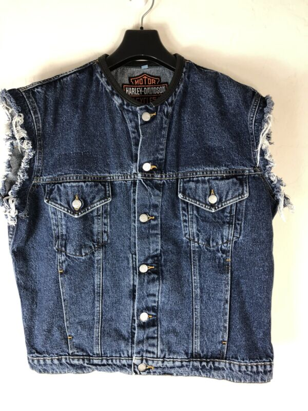 HARLEY DAVIDSON Mens Large Denim Vest Sleeveless Jacket Made in the USA