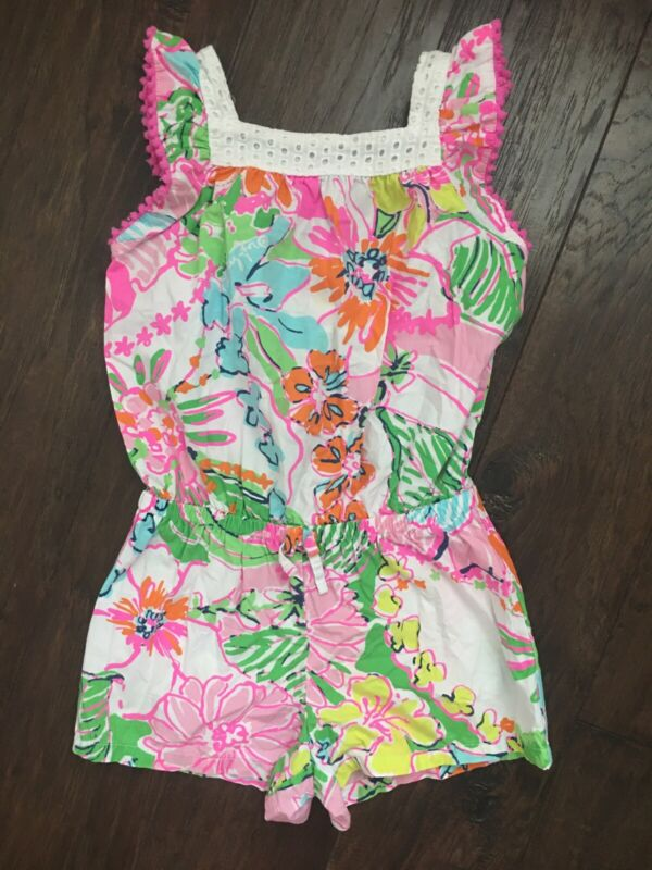 Lilly Pulitzer for Target Nosey Posey Pom Pom Girls Floral Romper Size 4T