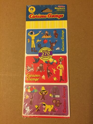 CURIOUS GEORGE STICKERS 270 STICKERS SMILEMAKERS UNIVERSAL STUDIOS!