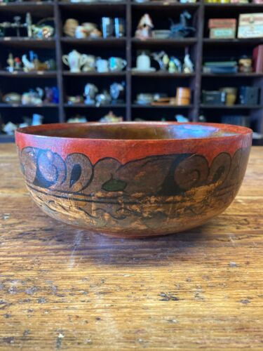 Antique Wood Bowl- Made in Soviet Union