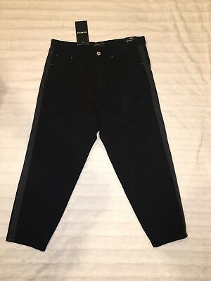 Denim Trim Fit Jeans (ZARA MAN Loose Fit Cropped Black Denim wear Jeans Black Side Trim Size 30 NWT)