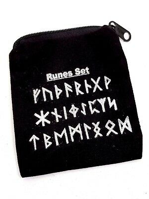 Velvet Black Gift Bag Jewellery Pouch Zipped Rune Bag Norse Pagan