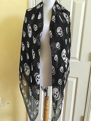 New Authentic ALEXANDER MCQUEEN Black SKULLS silk Chiffon Scarf Large