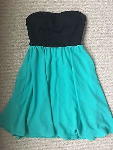 Black and Turquoise Strapless Dress