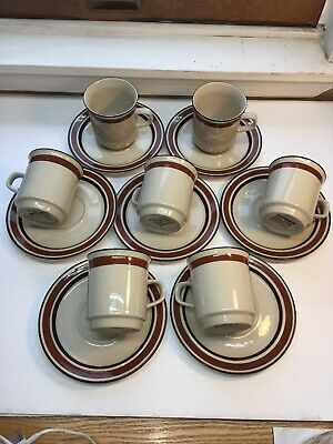Contemporary Stoneware~Japan Coffee Cups & Saucers 7 Sets Oven To Table ()