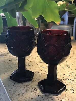 2 Avon 1876 Cape Cod Pattern Ruby Red Pressed Glass Small Goblets 4.5""