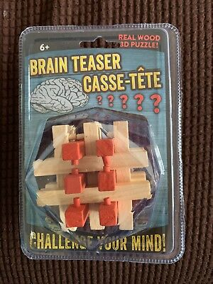 BRAIN TEASER CASSE-TETE Real Wood 3-D PUZZLE NEW SEALED PACKAGE ()