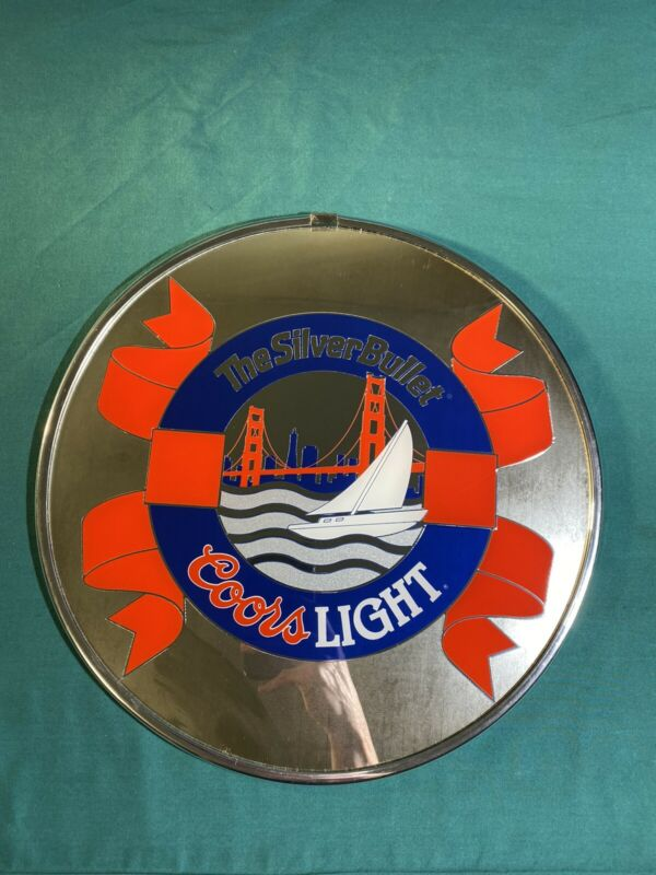 Rare Vintage Coors Light Beer Mirror Sign W/ San Francisco Golden Gate, Sailboat