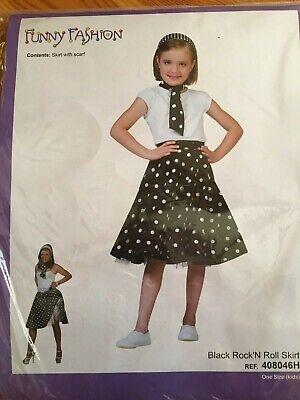 Kostüm Kinder Mädchen 50er Jahre Tellerrock Schwarz Rock'N Roll Rock + Schal NEU