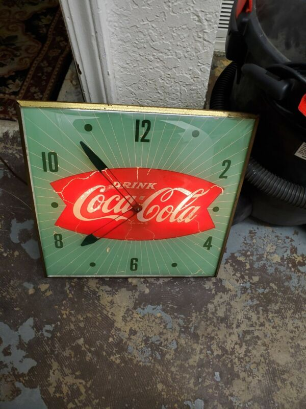 Pam Coca Cola Electric Clock With Working Light