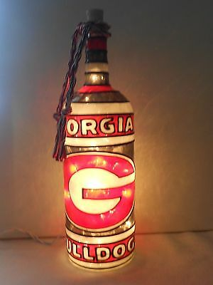 - Georgia Bulldogs Inspiered Bottle Lamp Handpainted Lighted Stained Glass Look