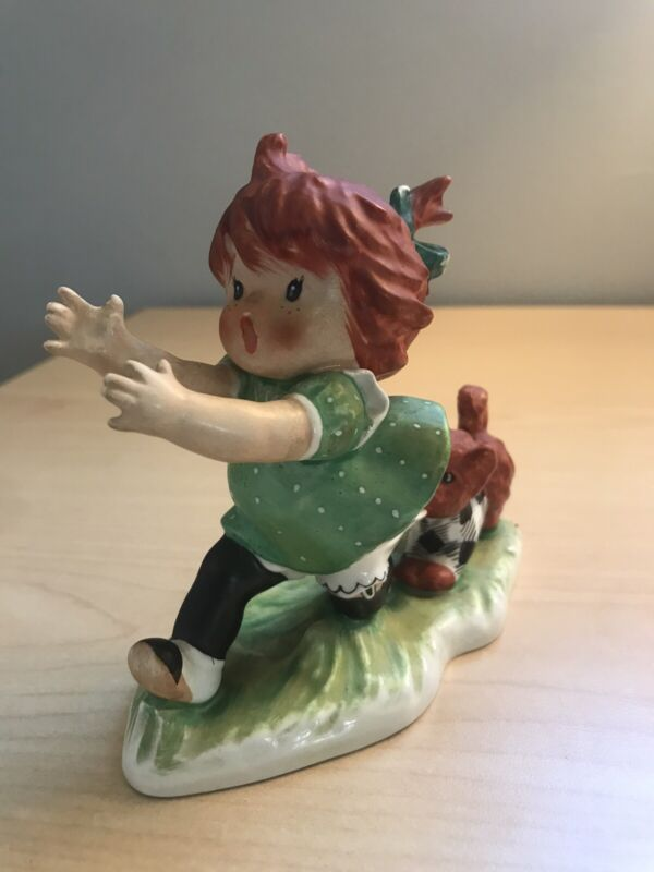 Goebel W.Germany By CHARLOT BYJ-EEEK Girl Chase By Dog, REDHEAD Green Polka Dot