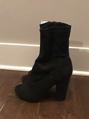 Truffle Collection by Boohoo Women's Black Suede Peeptoe Boot Sz 7 US/5 UK New