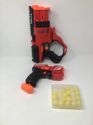 NERF Gun Lot - RIVAL KNOCKOUT XX-100 and ROUNDHOUSE XX-1500 with 20 Ammo Balls
