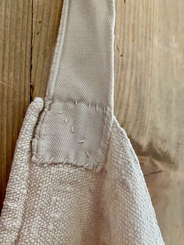 Primitive French unused HEAVY LINEN tea towel JP mono WASHED c1830