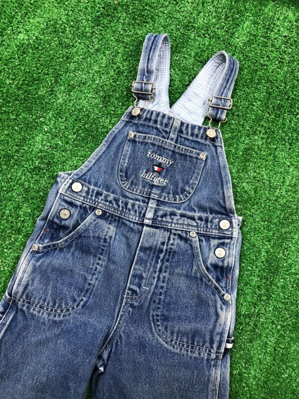 Tommy Hilfiger Kids Overalls Denim Blue Embroidered Youth Size 5
