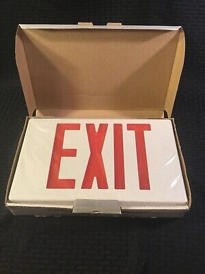 Led Emergency Exit Sign Lighting Fixture With Battery Backup - New In Box