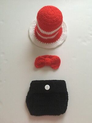 Crochet Dr Seuss inspired outfit, Newborn Photography, Photoprop, baby costume - Dr Seuss Infant Costumes