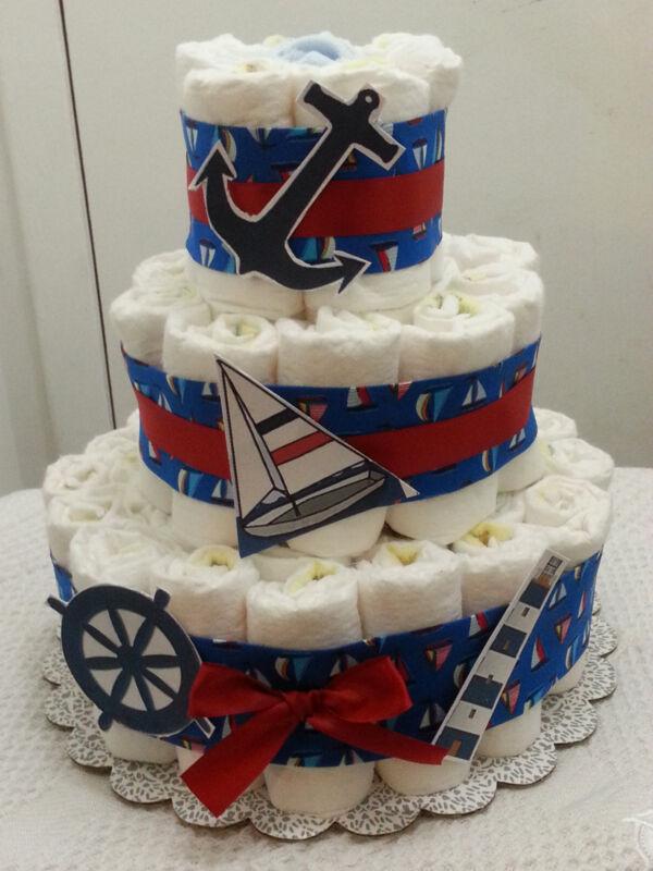 3 Tier Diaper Cake Nautical Ship Ahoy Baby Shower Centerpiece - Boy