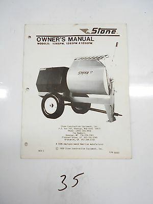 Stone Cement Mixer 1265pm 1285pm 1650pm Owners Manual 56002 1989